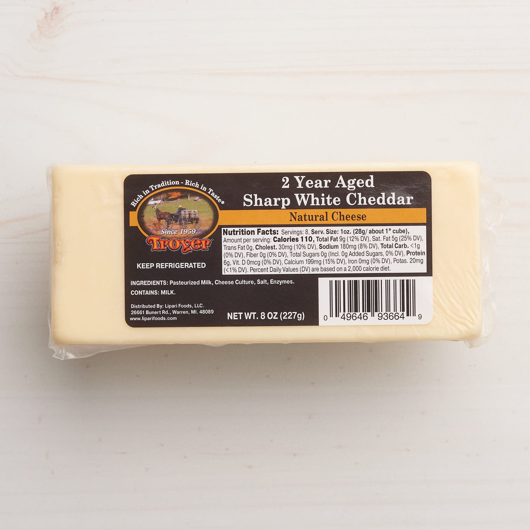 Image of Troyer 2 Year Aged Sharp White Cheese.