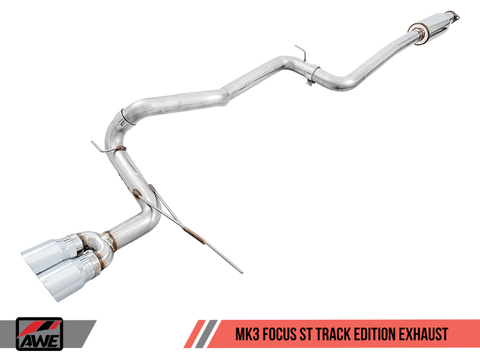 AWE Tuning Ford Focus ST Track Edition Cat-back Exhaust - Chrome Silver Tips