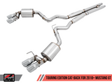 AWE Tuning 2018+ Ford Mustang GT (S550) Cat-back Exhaust - Touring Edition (Quad Chrome Silver Tips)