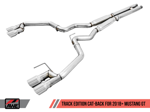 AWE Tuning 2018+ Ford Mustang GT (S550) Cat-back Exhaust - Track Edition (Quad Chrome Silver Tips)