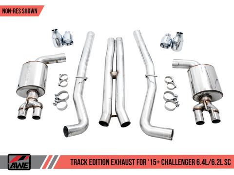 AWE Tuning 2015+ Dodge Challenger 6.4L/6.2L SC Track Edition Exhaust - Quad Chrome Silver Tips