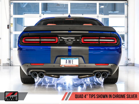 AWE Tuning 2015+ Dodge Challenger 5.7L Track Edition Exhaust - Chrome Silver Quad Tips