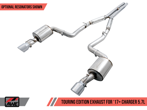 AWE Tuning 2017+ Dodge Charger 5.7L Touring Edition Exhaust - Resonated - Chrome Silver Tips