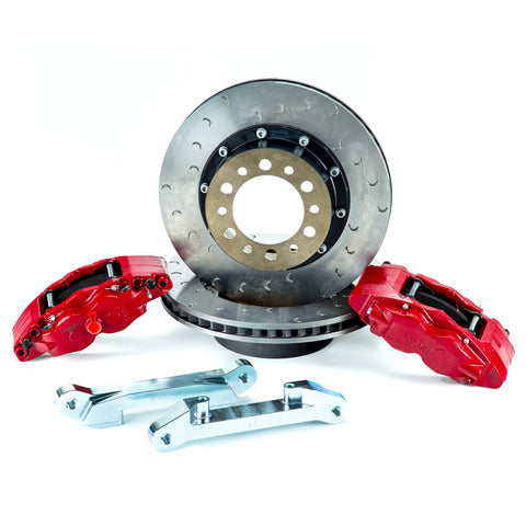 Alcon 07+ Jeep JK w/ 6x5.5in Hub 357x32mm Rotor 4-Piston Red Calipers Front Brake Upgrade Kit