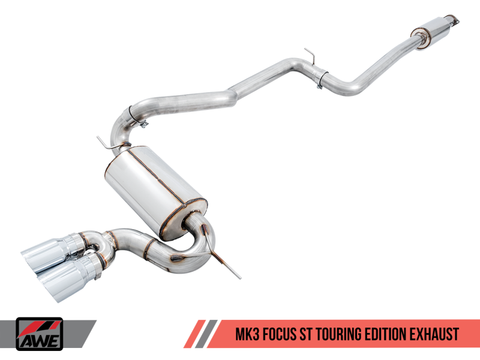 AWE Tuning Ford Focus ST Touring Edition Cat-back Exhaust - Resonated - Chrome Silver Tips
