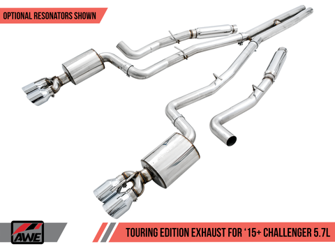 AWE Tuning 2015+ Dodge Challenger 5.7L Touring Edition Exhaust - Resonated - Chrome Silver Quad Tips