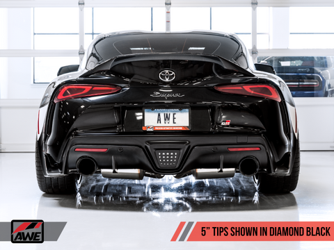 AWE 2020 Toyota Supra A90 Track Edition Exhaust - 5in Diamond Black Tips