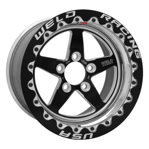 Weld S71 15x10.33 / 5x4.75 BP / 3.5in. BS Black Wheel (Medium Pad) - Black Single Beadlock MT