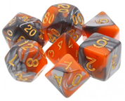 Orange/Silver Swirl Dice Set