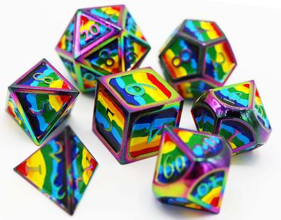 Metal Dice Rainbow Pride Flag