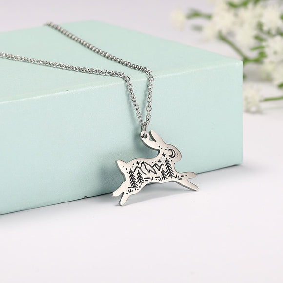 Myshape Golden Silvery Stainles Steel Forest Outdoor Scenery Landscape Rabbit Bird Bear Eagle Fox Wolf Necklace Men Jewelry