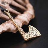 My shape Talisman Ax Anqitue Silver Plated Sun Wheel Amulet Vintage Knots Viking Axe Pendants Norse Wax Necklace for Men Male