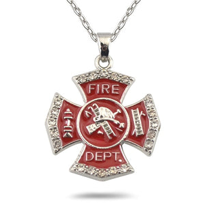 My Shape Firefighter Pendant Statement Necklace Link Chain Choker Jewelry Enamel White Crystal Stone Cross Fire Zinc Alloy Gift