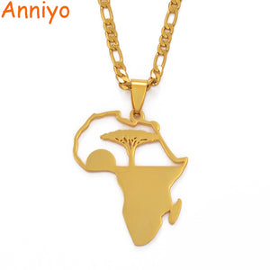 Anniyo African Tree & Sunrise Pendant Necklaces for Men Women Girls,My Home in Africa Jewelry Gold Color Birthday Ggift #112121