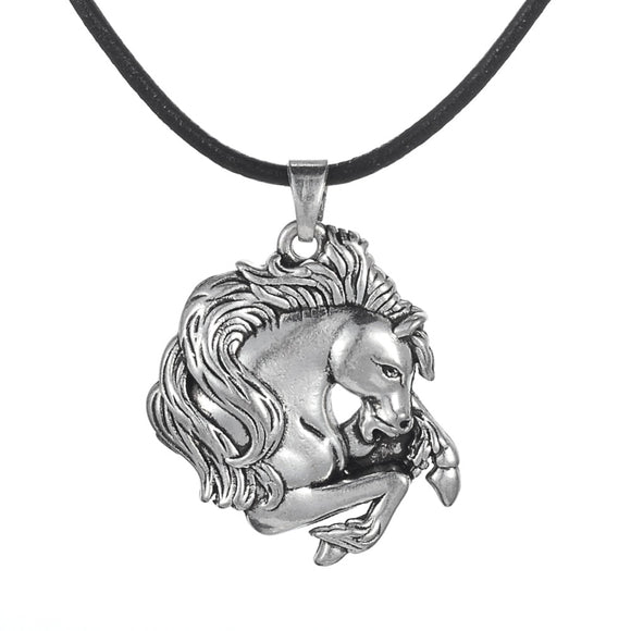 my shape Vintage Silver Plated Horse Pendant Charm Horse Lover Necklace Leather Cord for Men & Boy