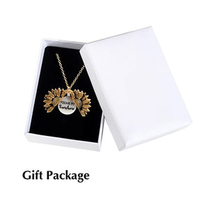 Gold Necklace Open Locket You Are My Sunshine Sunflower Pendant Necklace For Women Men Vintage Necklace Jewelry Accessories