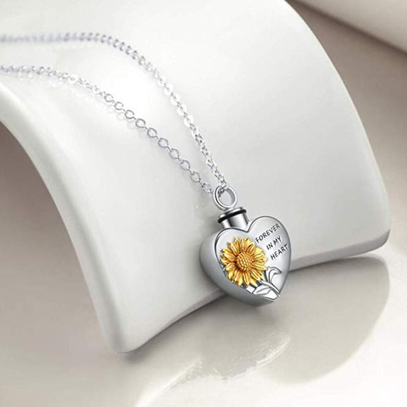 Sunflower Ashes Box Pendant Necklace Women Fashion Stainless Steel Forever In My Heart Letter Chain Necklace Men
