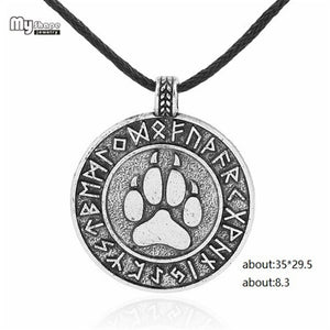 my shape Slavic Runes Nordic Choker Viking Wolf Paw Pendant Necklaces Chain Bear Claws Footprint Charms Statement Necklace Men