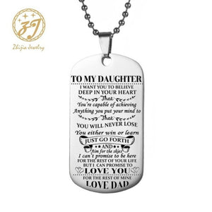 To My Son /Daughter Unique Designer Mens Military Army Style 316L Stainless Steel Dog Tags Chain Mens Woman Pendant Necklace