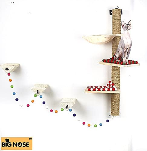 BIG NOSE- Wall Mounted Cat Scratching Post Multi Level Cat Shelves