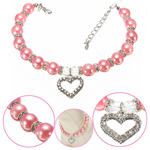 Rhinestone Pet Coller Puppy Dog Cat Pearl Necklace Pet Accessories Lovely Fashion Pets Dogs Cats Collar
