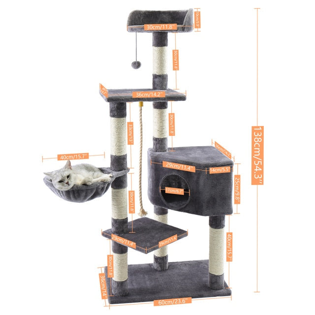 Fast Domestic Delivery Pet Cat Tree Tower Condo House Scratcher Post Toy for Cat Kitten Cat Jumping Toy with Ladder Playing Tree