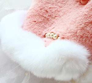 Winter camellia dog clothes artificial rabbit hair celebrities style