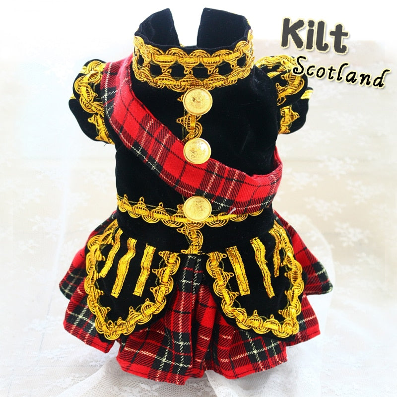 Scottish Plaid Kilt Royal Style Velvet Uniform Pet Tuxedo Suit Dog cat clothes
