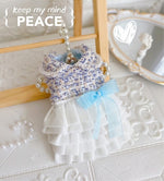Load image into Gallery viewer, Light Blue Tweed Dog Clothes Pet Coat Princess Dress Outfit Cake Skirt