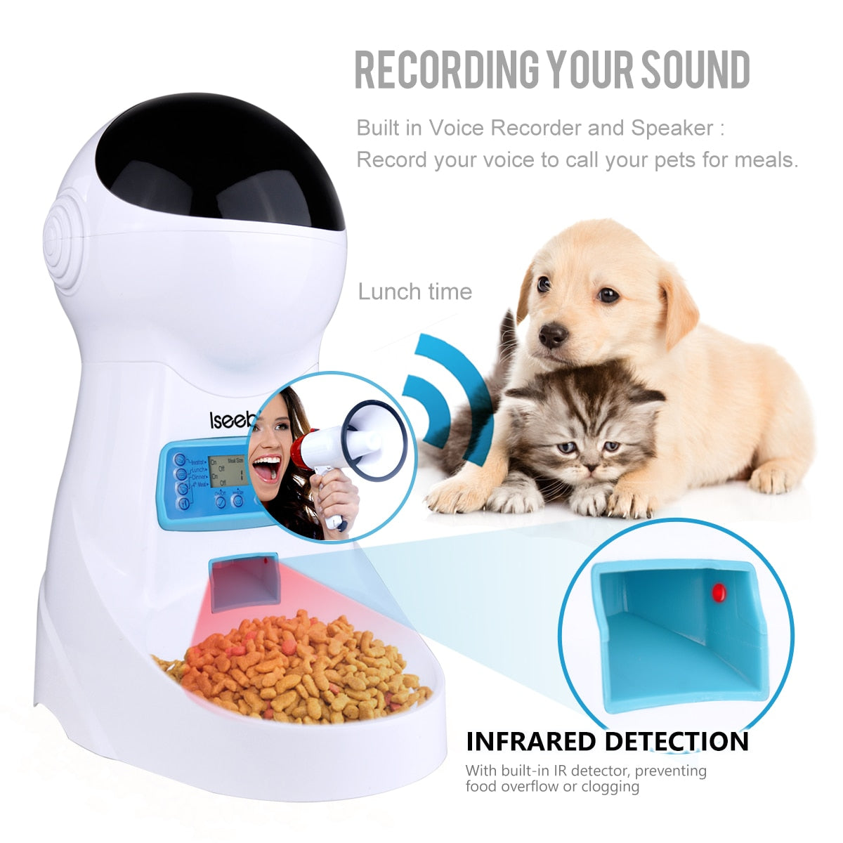 Iseebiz 3L Automatic Pet Feeder With Voice Record Pets Food Bowl For Medium Small Dog Cat LCD Screen Dispensers 4 Times One Day
