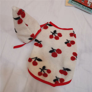 New winter pet dog clothes wool cherry hat vest blanket clothing
