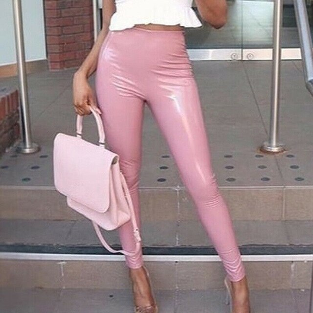 Legging Simili-Cuir Brillant Rose