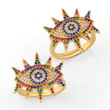 "Load image into Gallery viewer, <img src=""ring.png"" alt=""evil eye ring 18k gold plated cubic zirconia colourful zircon stone adjustable size"">"