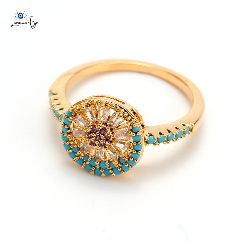 "<img src=""ring.png"" alt=""evil eye luxury turquoise cubic zirconia nickel free lead free gold plated crystal ring"">"