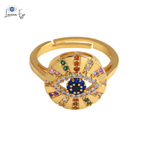 "Load image into Gallery viewer, <img src=""ring.png"" alt=""evil eye ring colourful cz cubic zirconia zircon nickel free 18k gold plated ring adjustable size"">"