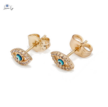 "Load image into Gallery viewer, <img src=""earring.png"" alt=""evil eye stud earring 18k gold plated nickel-free and lead-free luxurious"">"