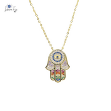 "Load image into Gallery viewer, <img src=""necklace.png"" alt=""evil eye necklace hamsa hand 18k gold plated micro pave aaa cubic zirconia"">"