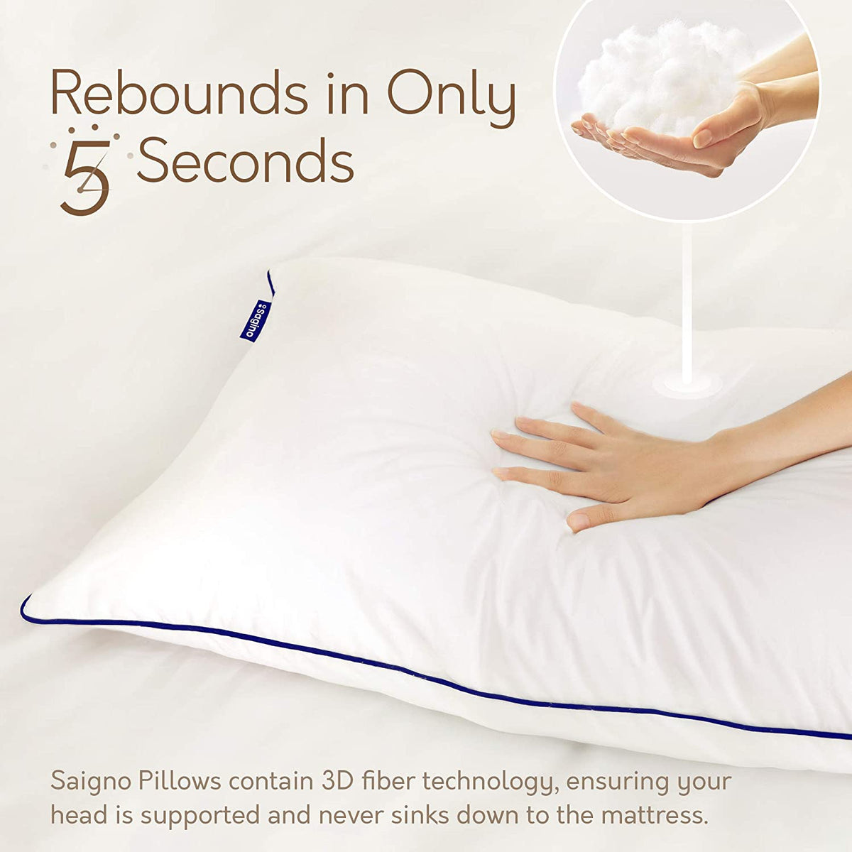 Sagino Premium Plush Down Alternative Pillows - Sagino