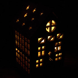 Medium Wooden LED Light Shadow House
