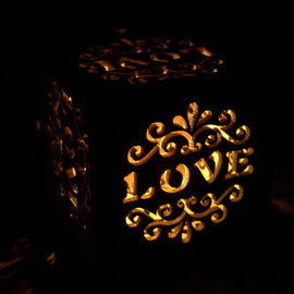Wooden LED Light Shadow Box - Love