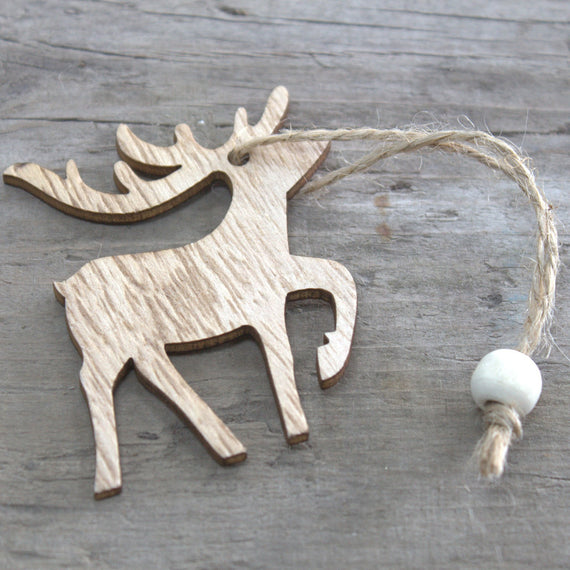 Pack of 3 Christmas Wooden Craft Decoration - Raindeer