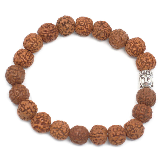 Rudraksha Buddah Bangle Mala - Brown