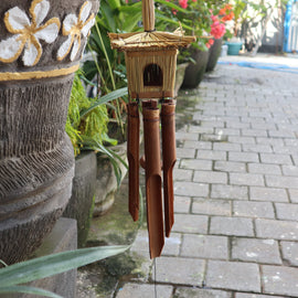 Square Seagrass Bird Box with Chimes 49x15cm