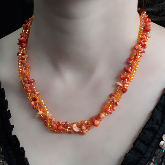 Chipstone & Bead Necklace - Orange Coral