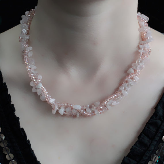 Chipstone & Bead Necklace - Rose Quartz