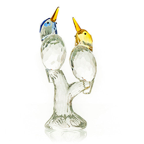 Pair of Kingfishers Crystal - Blue & Yellow