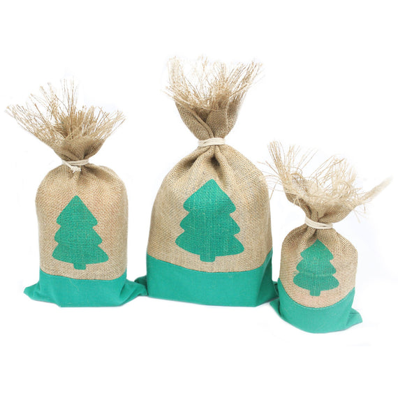 Danish Pouch Set of 3 - Green & Tree