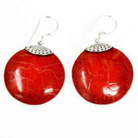 Coral Style 925 Silver Earrings - Classic Disc