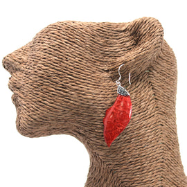 Coral Style 925 Silver Earring - Leaf Drop