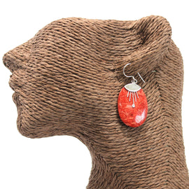 Coral Style 925 Silver Earring - Oval Décor